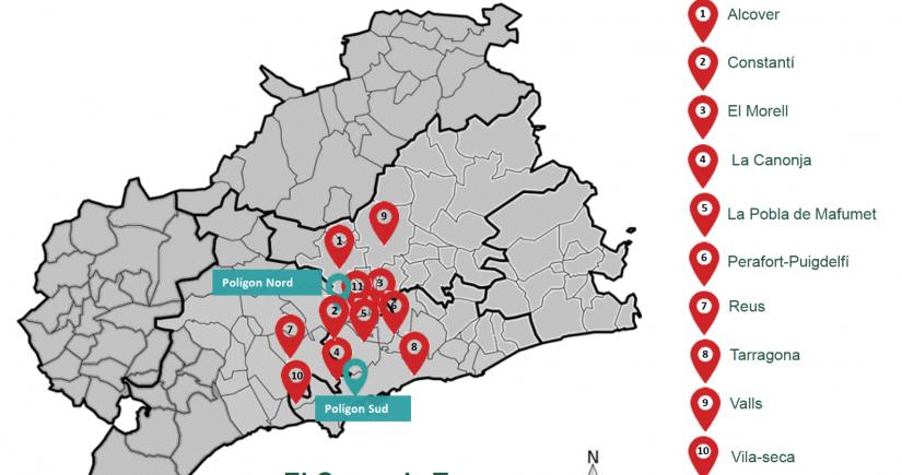 Mapa de los 11 municipios analizados en el informe preliminar